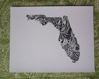 Florida State Outline/Florida Art Print