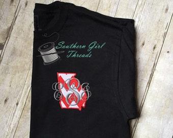 Monogram State TShirt, Monogram Georgia Tshirt,Monogram State of Georgia Tshirt, Monogram Tshirt, Monogram State Tee, Pick Your State Tshirt