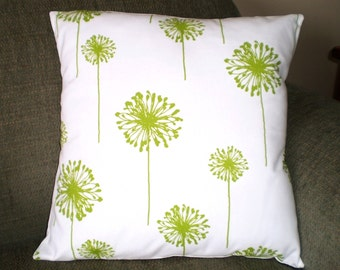 Decorative Throw Pillow Covers, Green Pillows, Cushion Covers, Toss Pillow, Couch Pillows, Throw Pillow, Dandelion, One or More All Sizes
