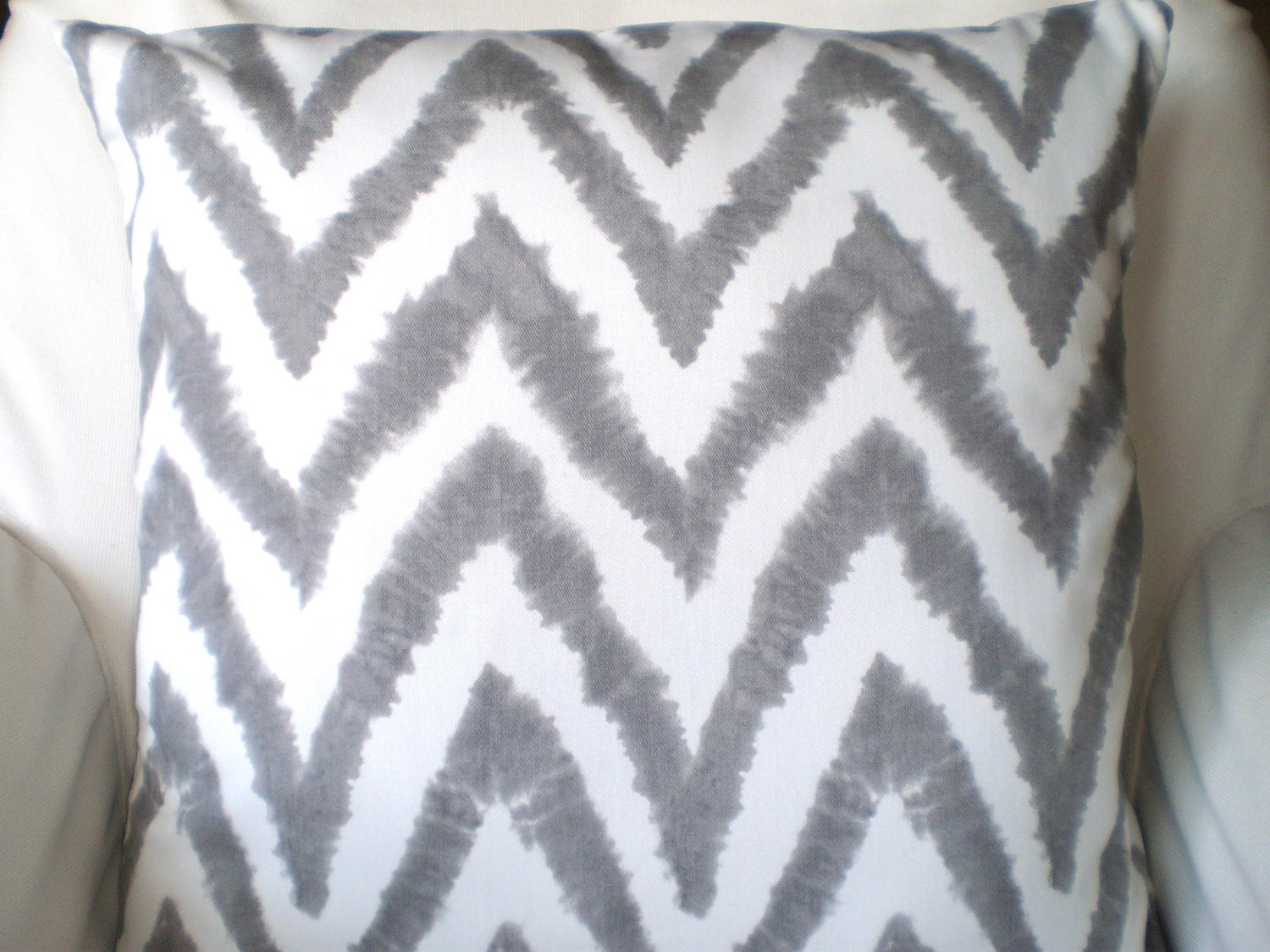 Gray Chevron Pillow Covers Decorative Throw by PillowCushionCovers