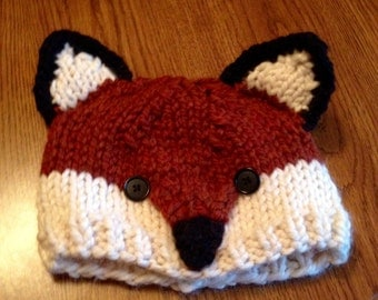 Super cute knit fox hat cap photo prop babies toddlers kids teens womens adults