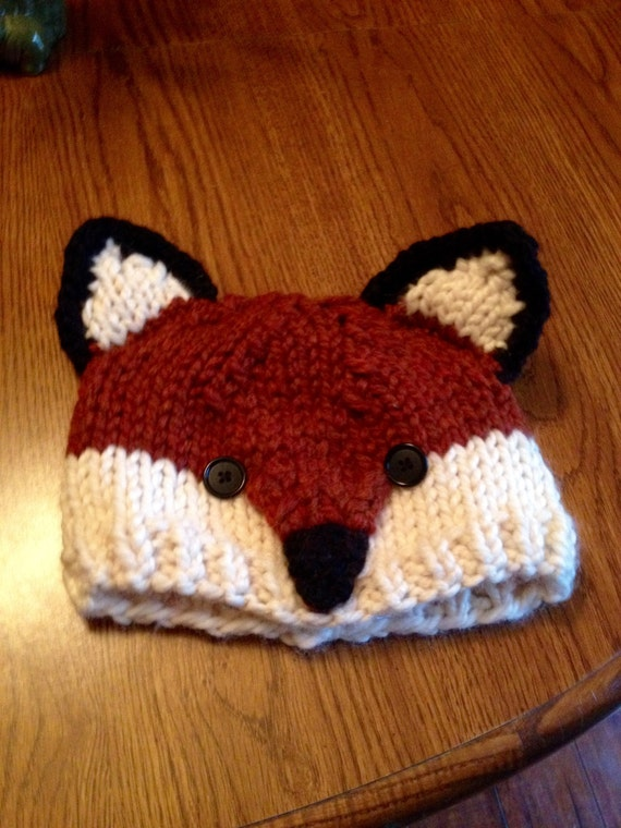 Knitting Pattern Fox Hat : Super cute knit fox hat cap photo prop babies toddlers kids