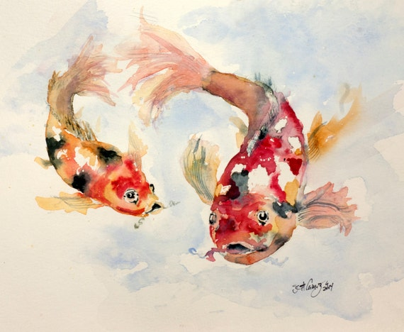 Koi fish water pond nature original watercolor painting for Original koi fish