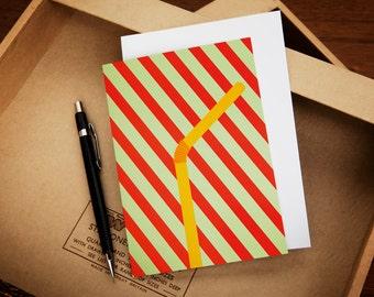 Yellow Straw Stripy Greeting Card