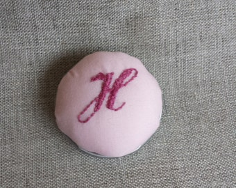 Upcycled Pin Cushion Brooch with Hand Embroidered Monogram 'H'