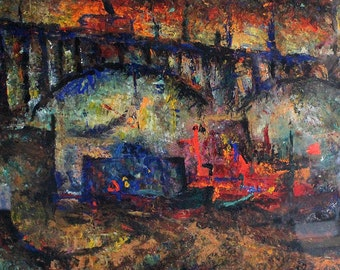 Abstract Oil Painting of Bridge Over River in Town by Nikolai Znamerovsky