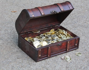 Handcrafted Wood Treasure box, with Plastic Coins,