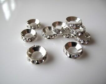10 White Clear Crystal Rhinestone Spacer Beads Big Hole European Charm - fits european style bracelet