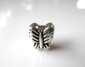 1 Silver Toned Butterfly Large Big Hole (5mm) European Charm - fits european style bracelet