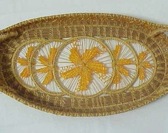 Antique Pine Needle Basket Tray 1930  Southeastern United States