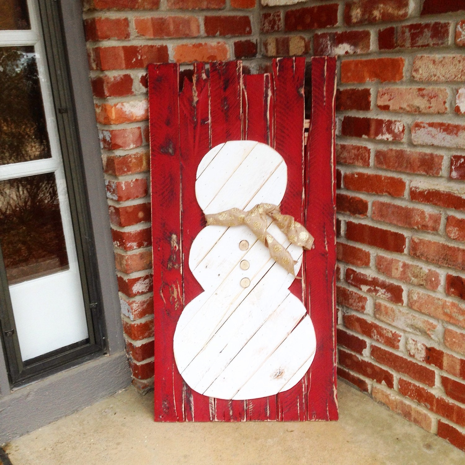 Rustic snowman decor from reclaimed wood scarf not included for Rustic snowman decor