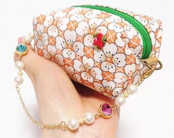 Japanese pattern beanbag pouch,Kimono pouch (Small)(silk)