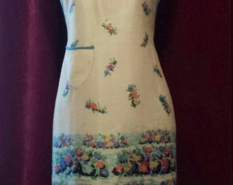 Vintage 50s / 60s Full Length Housewife Apron / Pinafore Apron