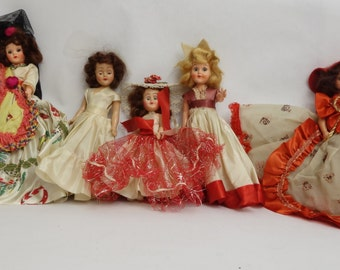 "1960's ""Cake dolls"" set of 5, various costumes."