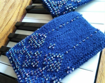 Moving sale! Navy blue soft and warm pure merino wool wrist and arm warmers, 1080 seed foil iridescent purple/blue/green beads