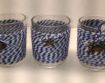 Glass Votive Candle Holders - Set of 3 Nautical Glass Candle Holders