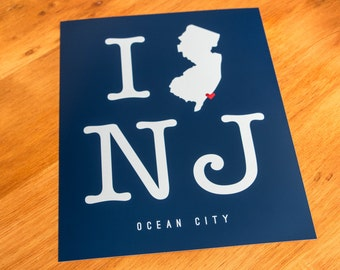 Ocean City, NJ - I Heart NJ - Art Print  - Your Choice of Size & Color!