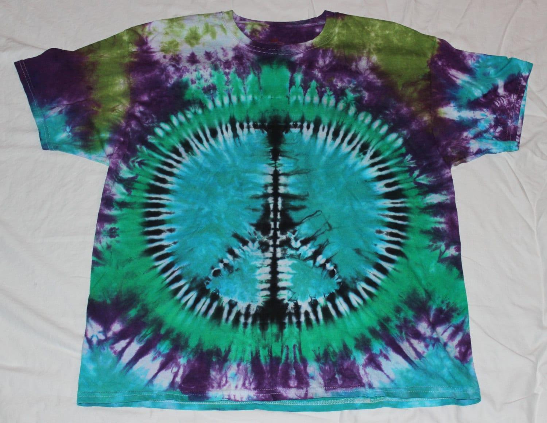 tie dye blue green purple black peace sign t by tiealive