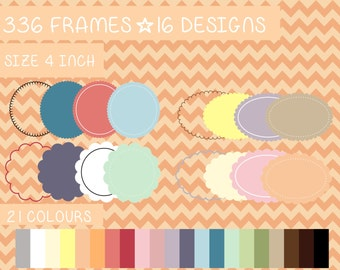 336 scalloped frames kit pack PNG Digital file Printable Instant download Colourful Scrapbooking Commercial use