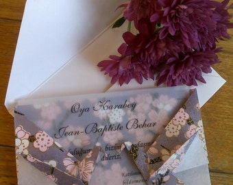10 Double Sided Crane Origami Card -Japanese Chiyogami Yuzen Paper - Lilac Blossom - Wedding İnvitation - Greeting Card