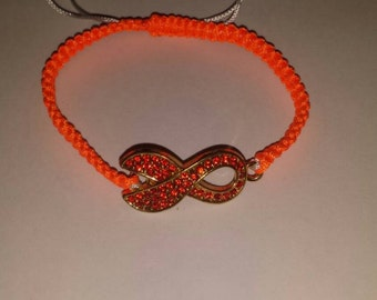 Orange Ribbon Charm Bracelet (Adjustable)