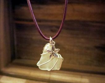 White Seaglass Necklace with Flower Charm