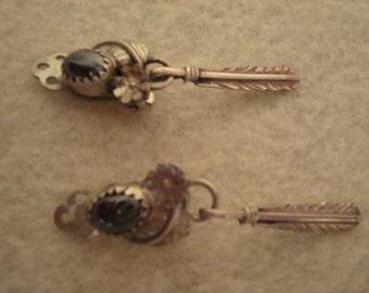 Navajo Indian Earrings in sterling and black onyx