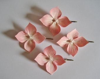 4 beautiful Silk Hortensia flowers barrettes