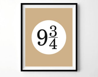 Harry Potter Wall Art, Platform 9 3/4 Print, Platform 9 3/4, Hogwarts Express, Minimalistic, Black White Tan, Simple, Fantasy Home Decor