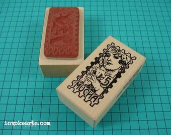 Mucha Poste Stamp / Postoid / Invoke Arts Collage Rubber Stamps