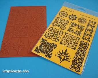 Mosaic Elements / Invoke Arts Collage Rubber Stamps / Unmounted Stamp Set