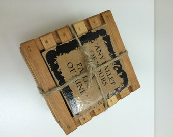 Wooden Pallet coaster made from cherry or maple with felt feet