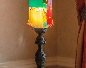 Art Deco table lamp, fused glass lamp, unique table lamp, art glass lighting