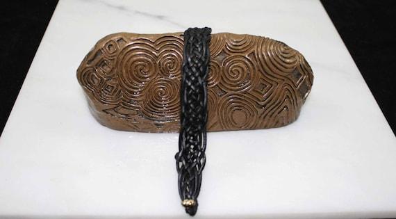 Celtic leather bracelet in black
