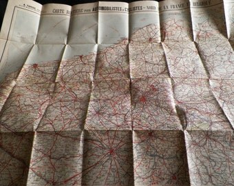 Old roadmap for motorists and cyclists - North of France and Belgium. Editor A.TARIDE - Paris 10-1918
