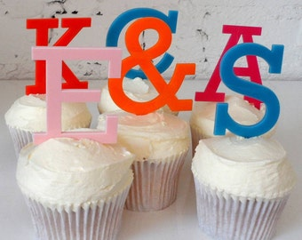 Single Initial Straight Font Monogram Cupcake Toppers