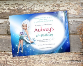 Girl Fairies Birthday Invitation/ Tinkerbell and the Pixie Hollow Fairies/ Periwinkle