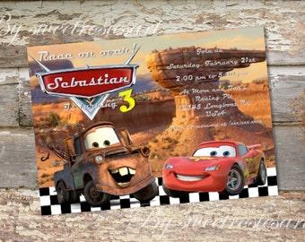 Boy Cars Birthday Invitation/ Lightning McQueen and Mater
