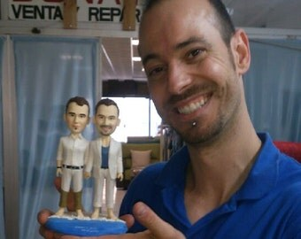 Beach wedding cake topper Gay Custom personalized polymer clay toppers funny cartoon figurines
