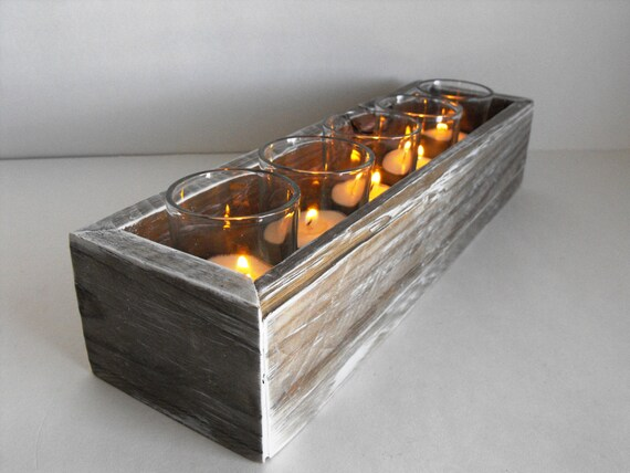 Handmade rustic rectangle wooden votive candle by elementone