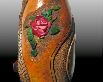 Gourd Art Carved  Roses featuring pine needle weaving and cedar rose accents