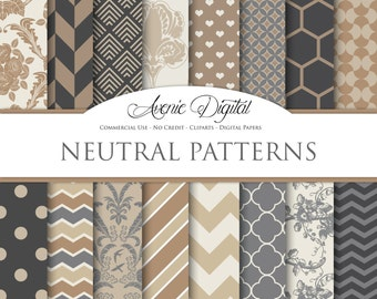 Neutral Digital Paper. Scrapbook Backgrounds, Brown patterns Commercial Use. Geometric, chevron. floral. muted colors, earth tones Download.