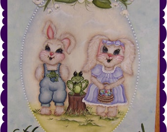 Hoppy Easter Pattern Packet.  This is a Banner to hang on a door or a pattern to make into any decorative piece of art you want.
