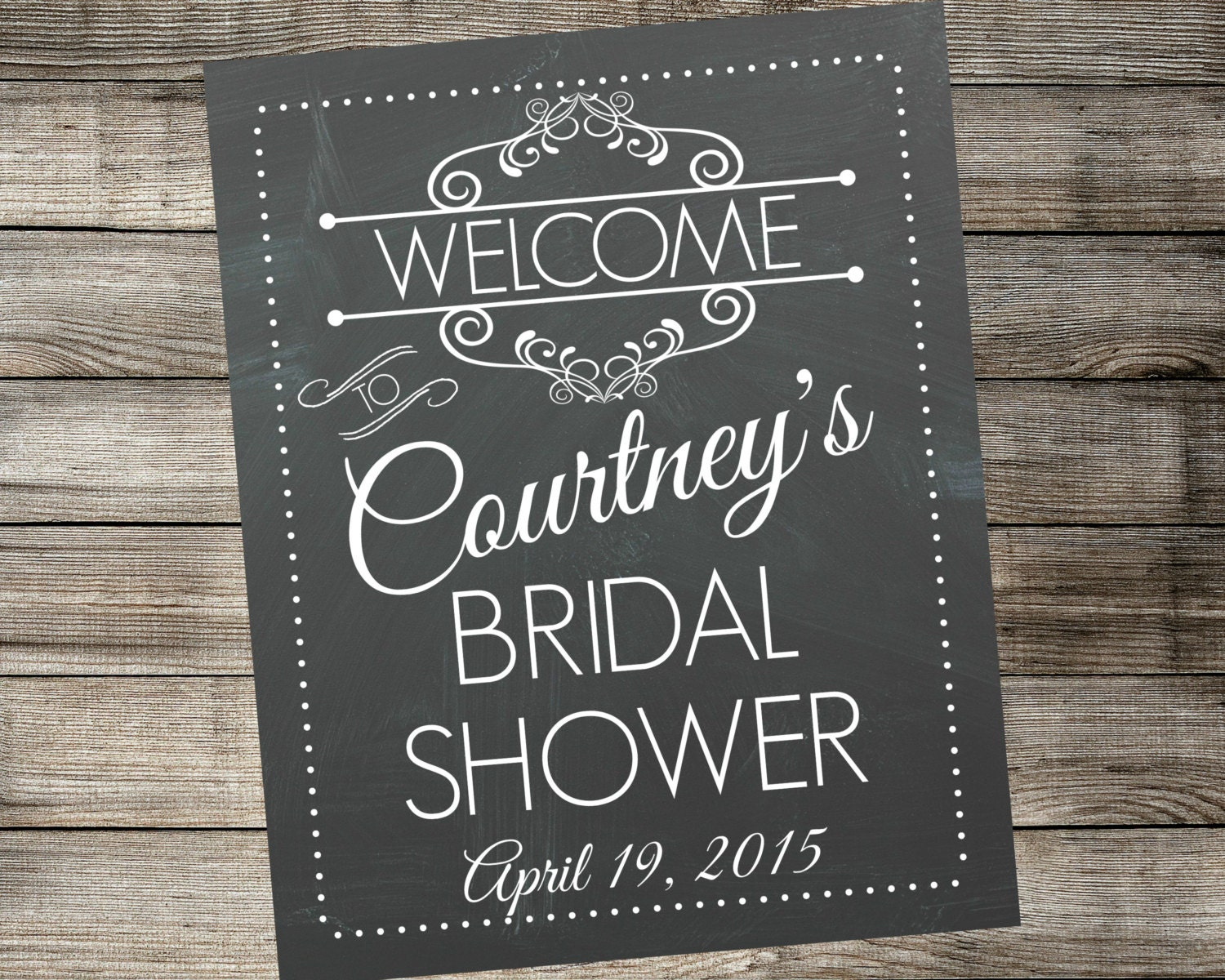 Personalized bridal shower welcome sign by for Wedding shower signs