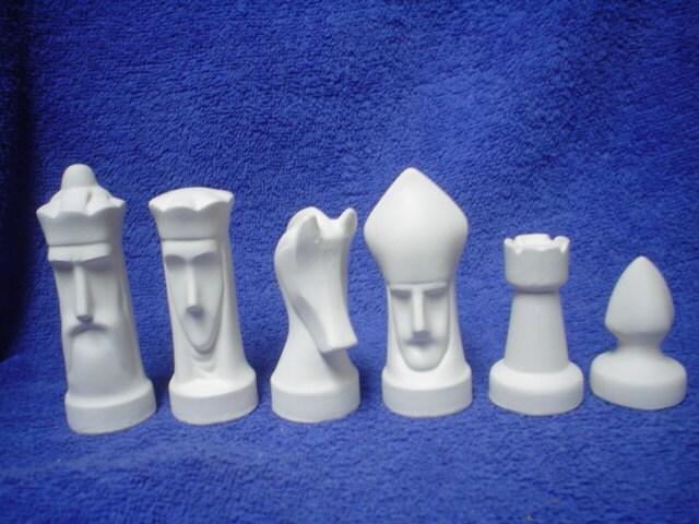 Ceramic bisque 32 piece arnel modern chess set - Ceramic chess sets for sale ...