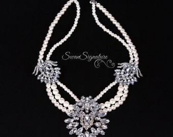 Pearl Statement Necklace, Wedding Necklace, Bridal Necklace Perfect for weddings, prom, or any other special occasion N48
