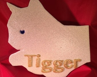 Personalized Relaxed Cat Decoration (White)