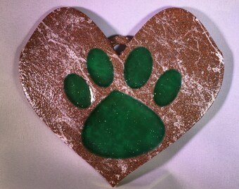 Paw Print On My Heart Decoration (Multiple Colors)