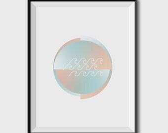 POSTERA3 / A4, ART, interior design, minimalism, Circle waves