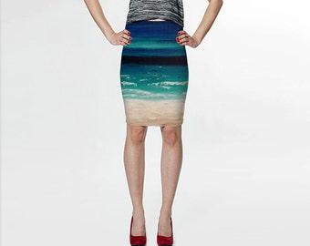 Beach Skirt, Art Skirt, Turquoise Skirt, Beige Blue Skirt, Ocean Clothing Wearable Art Printed Skirt Pencil Skirt Knee Length Skirt XL Skirt